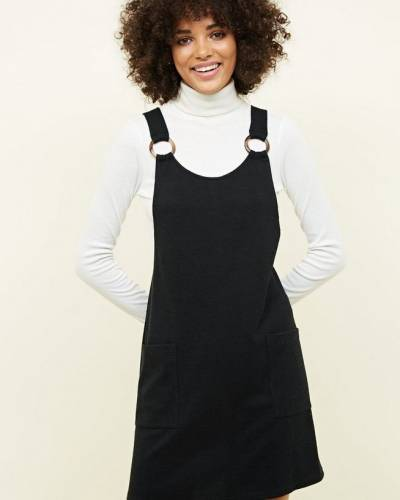 black-round-buckle-cross-hatch-pinafore-dress