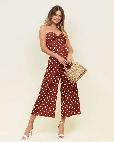 brown-spot-print-twist-front-strapless-party-jumpsuit