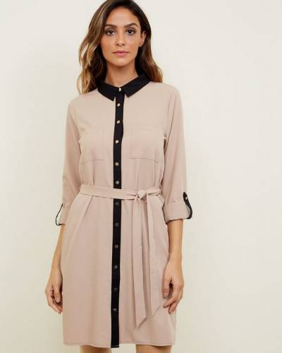 tan-twill-contrast-trim-shirt-dress