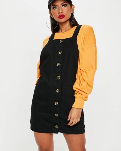 black-horn-button-through-denim-pinafore-dress
