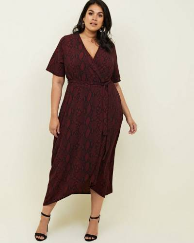 curves-red-snakeskin-print-dip-hem-midi-dress