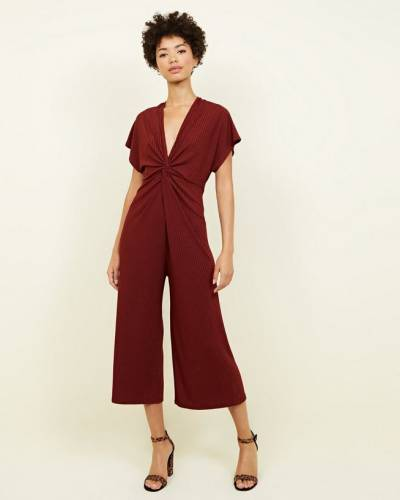rust-ribbed-twist-front-culotte-jumpsuit-