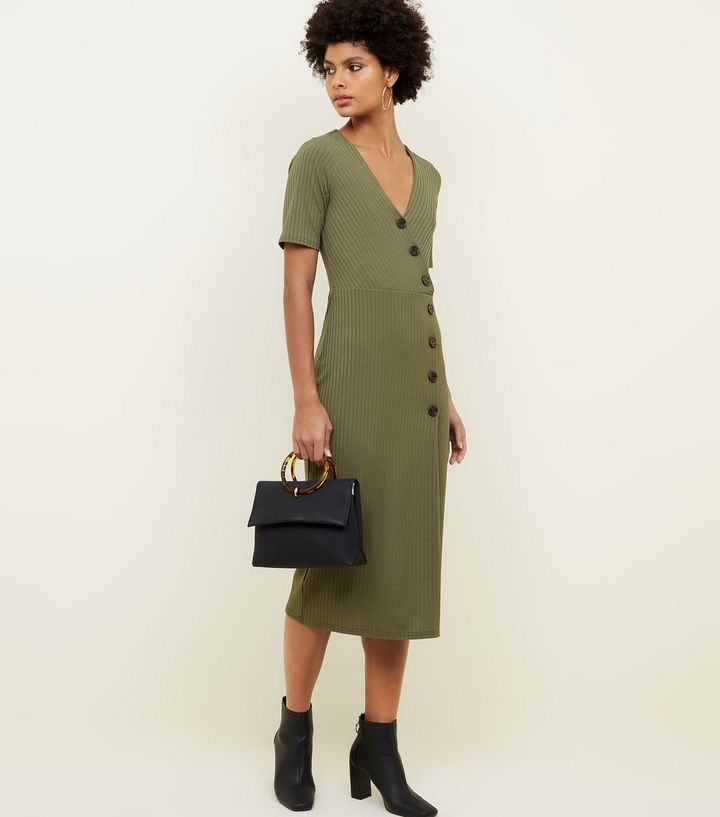 khaki-ribbed-button-wrap-midi-dress