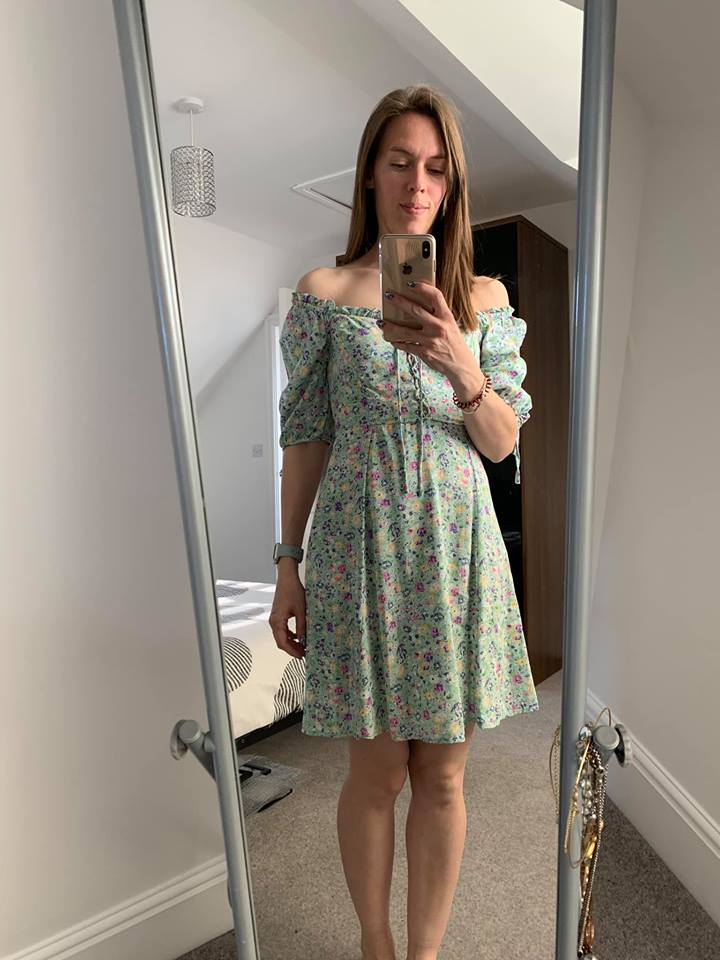 Leanne Lewis green ditsy dress