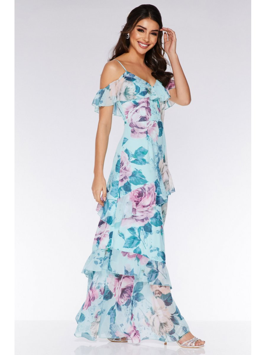 Quiz aqua-and-pink-floral-cold-shoulder-maxi-dress-00100019461