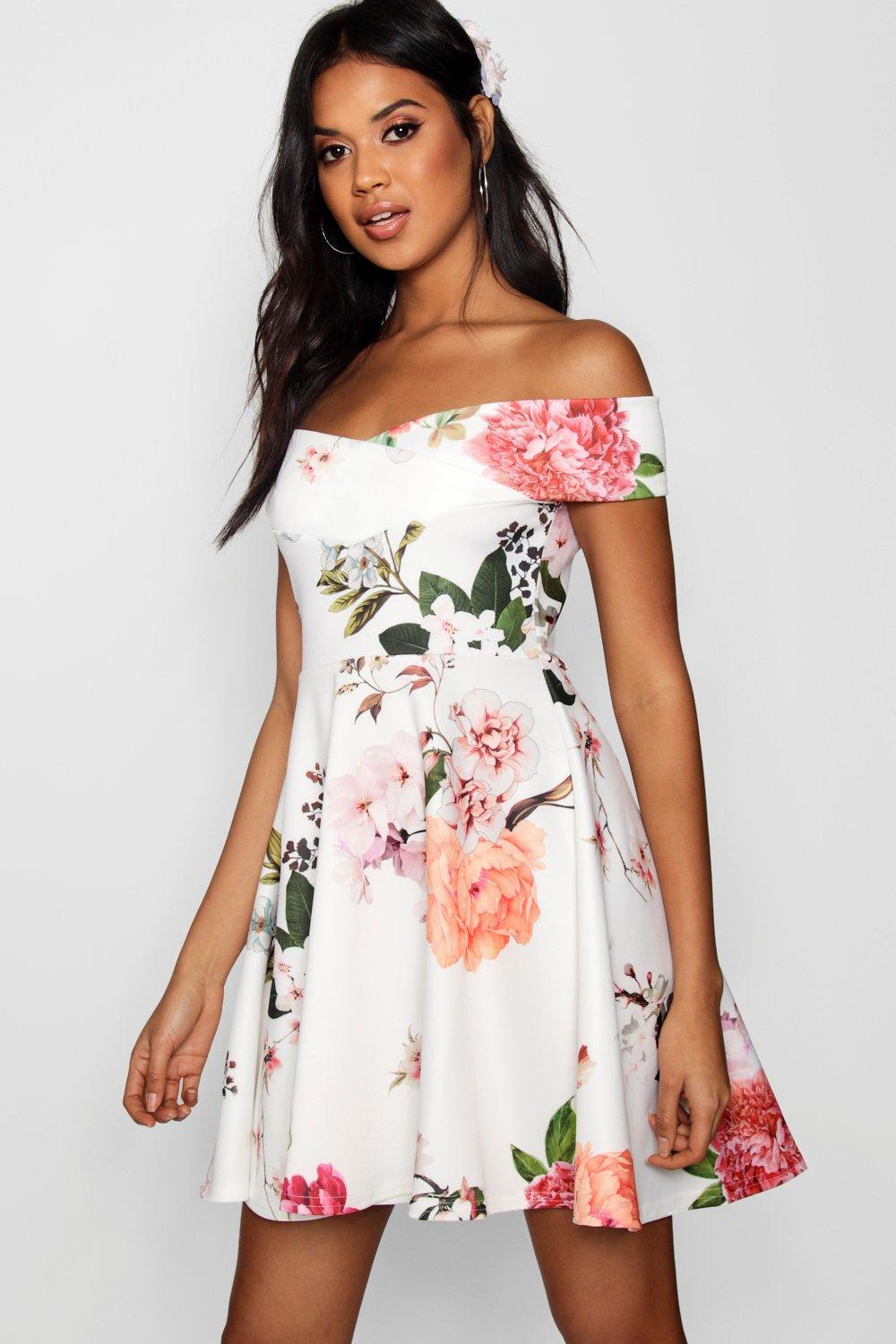 boohoo floral off shoulder dress