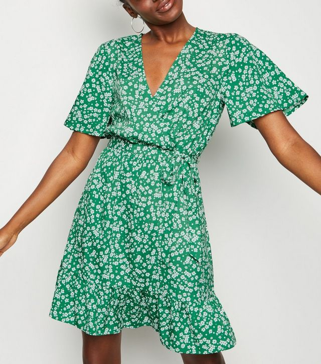 new look green-floral-wrap-front-mini-dress