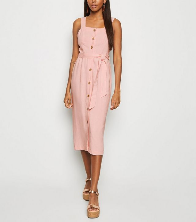 new look pink-linen-look-button-front-midi-dress
