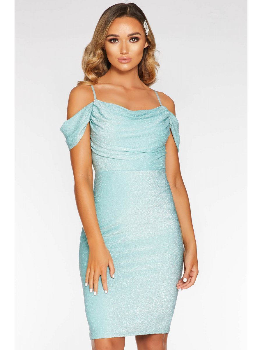 quiz mint-green-cold-shoulder-midi-dress-00100020563