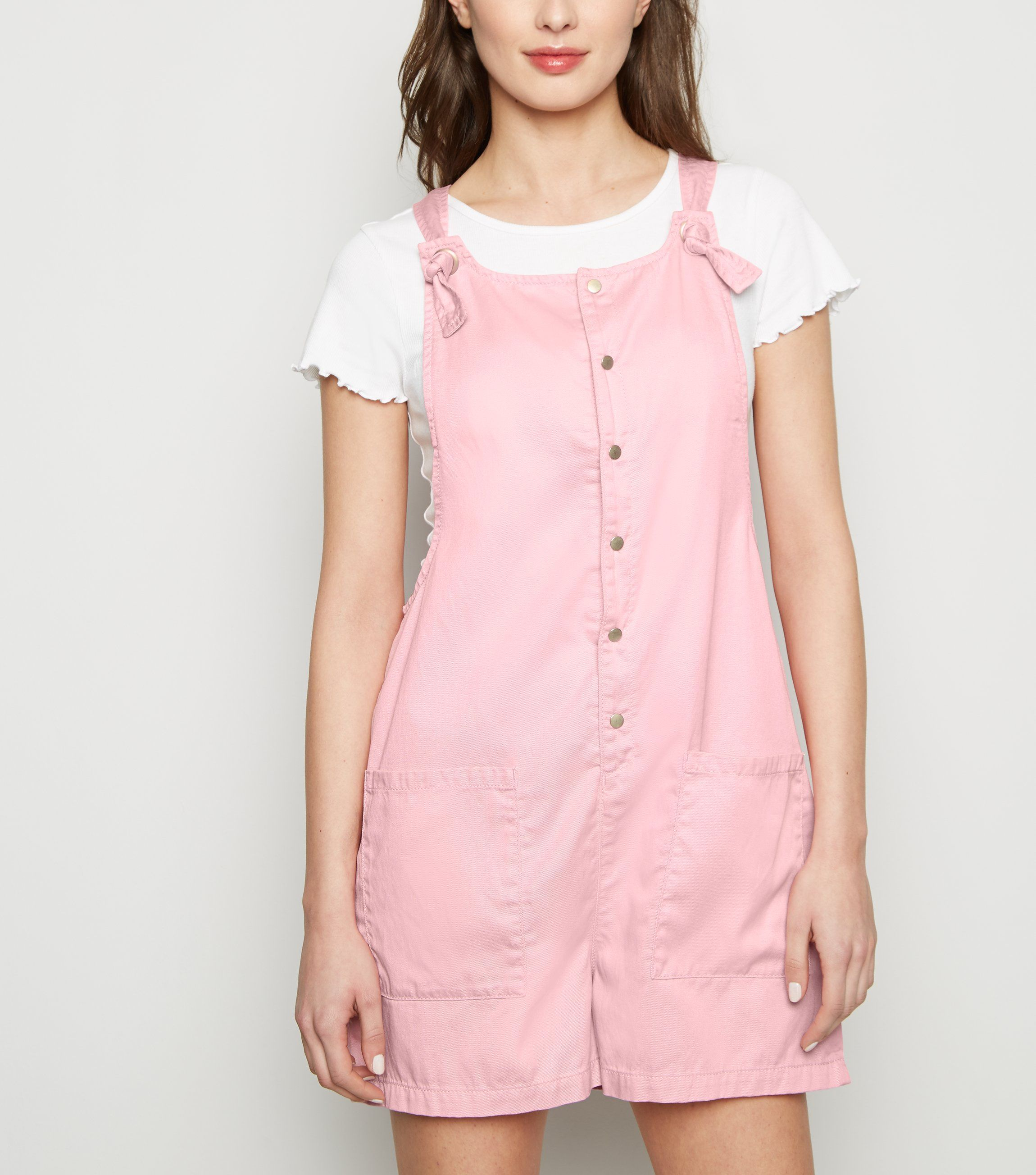 new look pale-pink-popper-front-lightweight-playsuit
