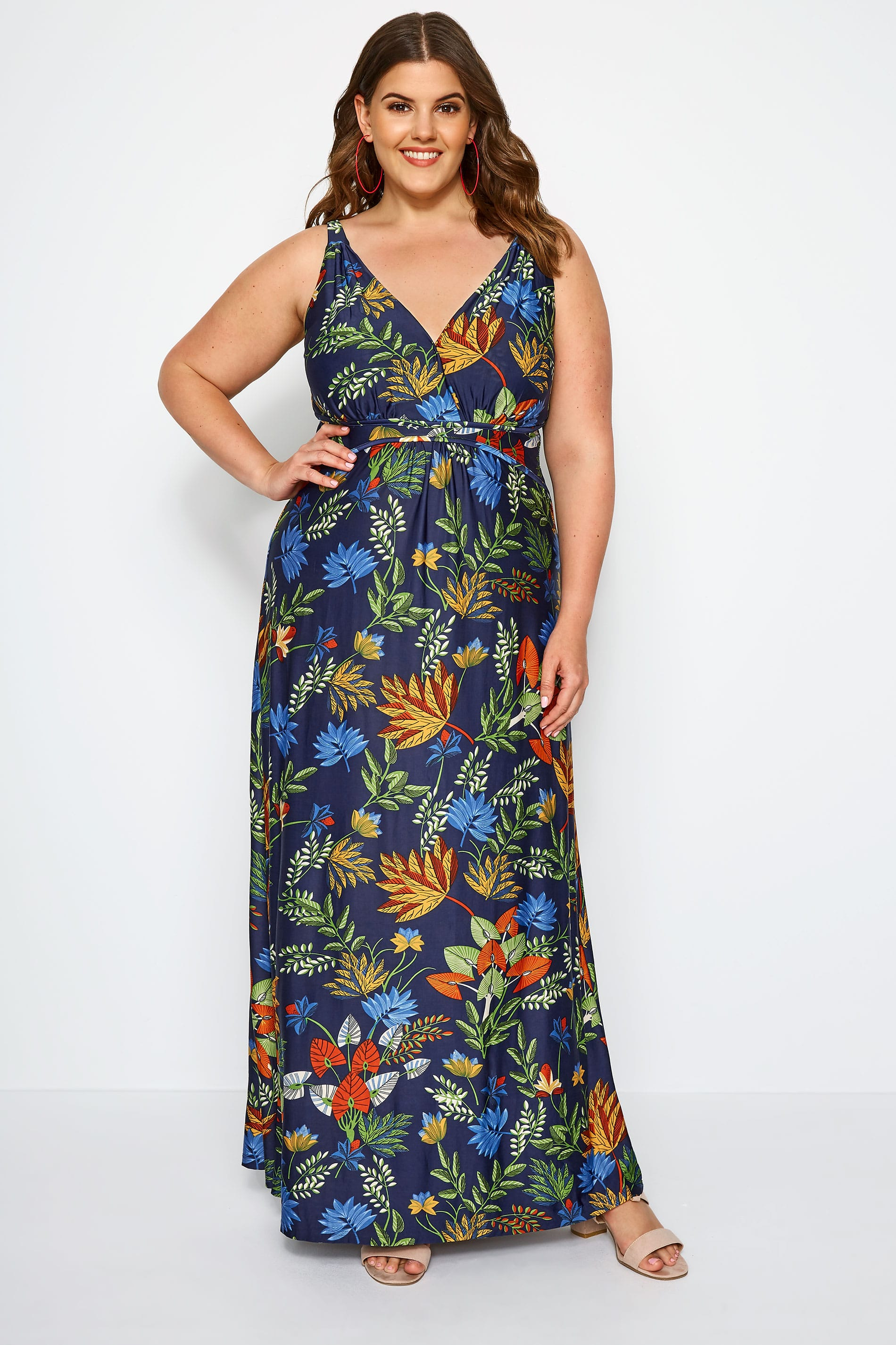 Yours navy and green tropical dress