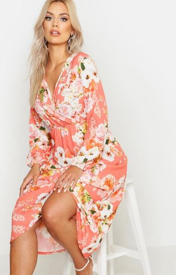 boohoo plus floral midi dress