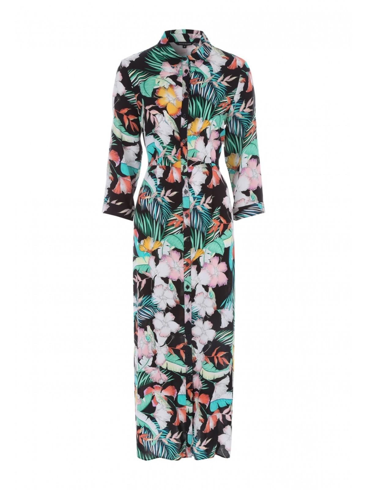 Peacocks Womens Multicolour Tropical Maxi Shirt Dress