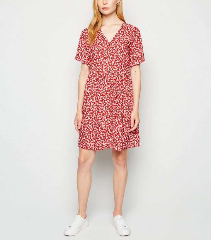 red-floral-button-mini-smock-dress