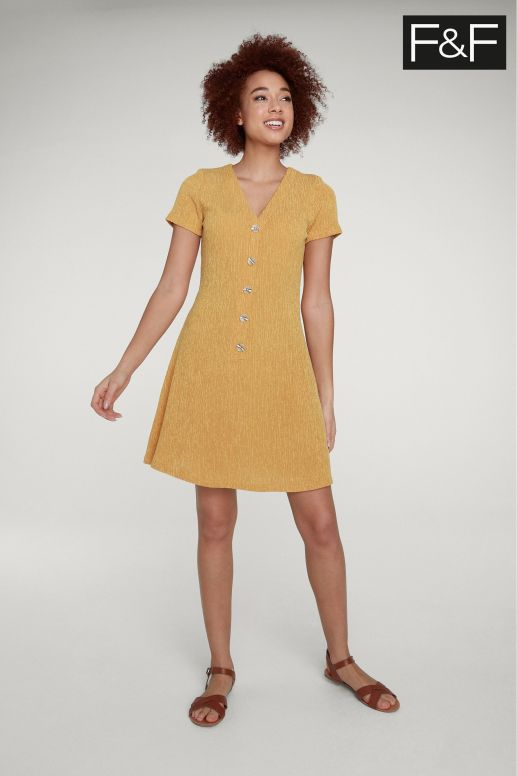 F&f orange button dress