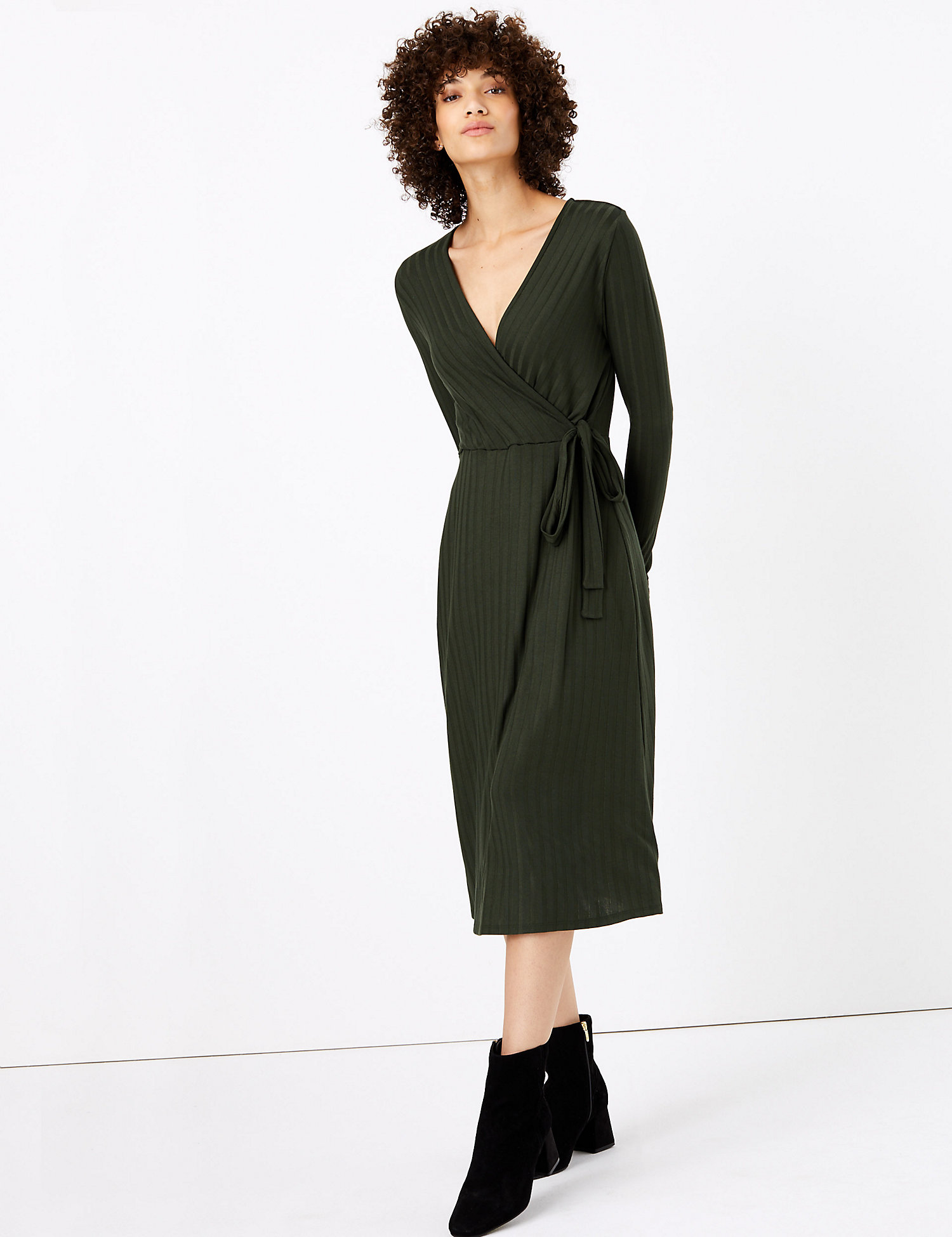 m&s ribbed fit and flare dress