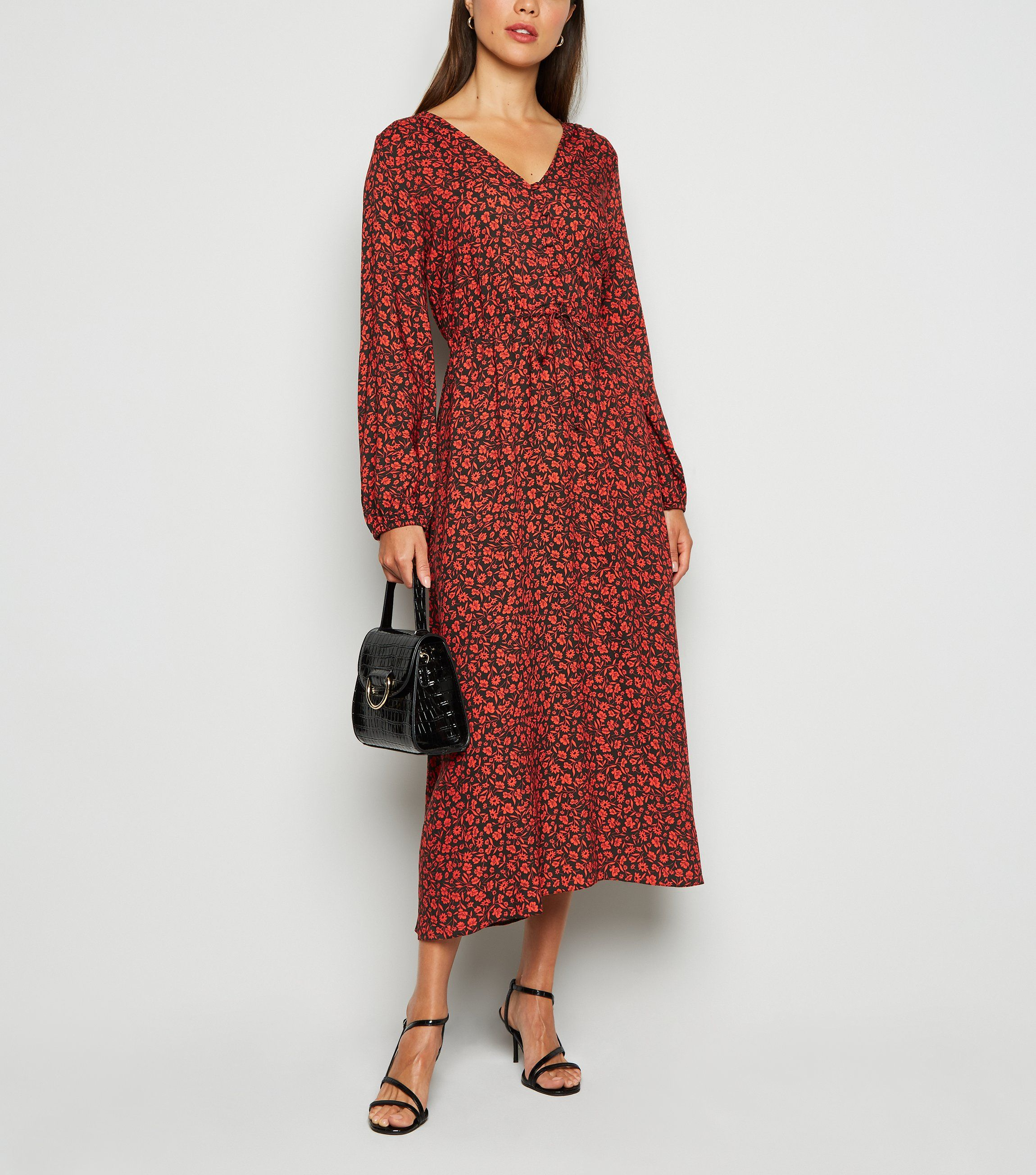 new look red ditsy dress