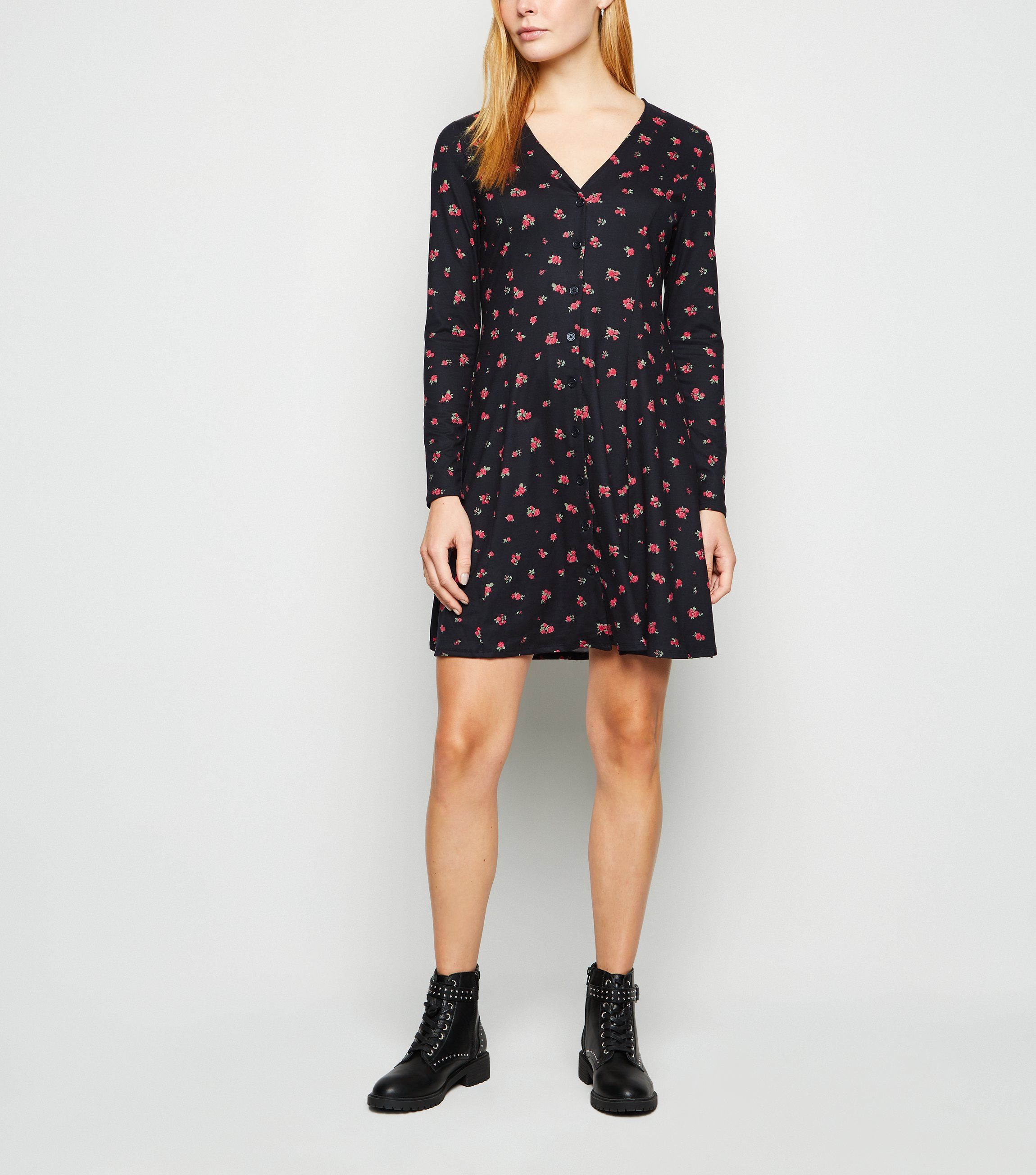 New look black-rose-soft-touch-button-up-dress