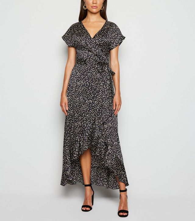 new look black-satin-spot-ruffle-trim-midi-dress
