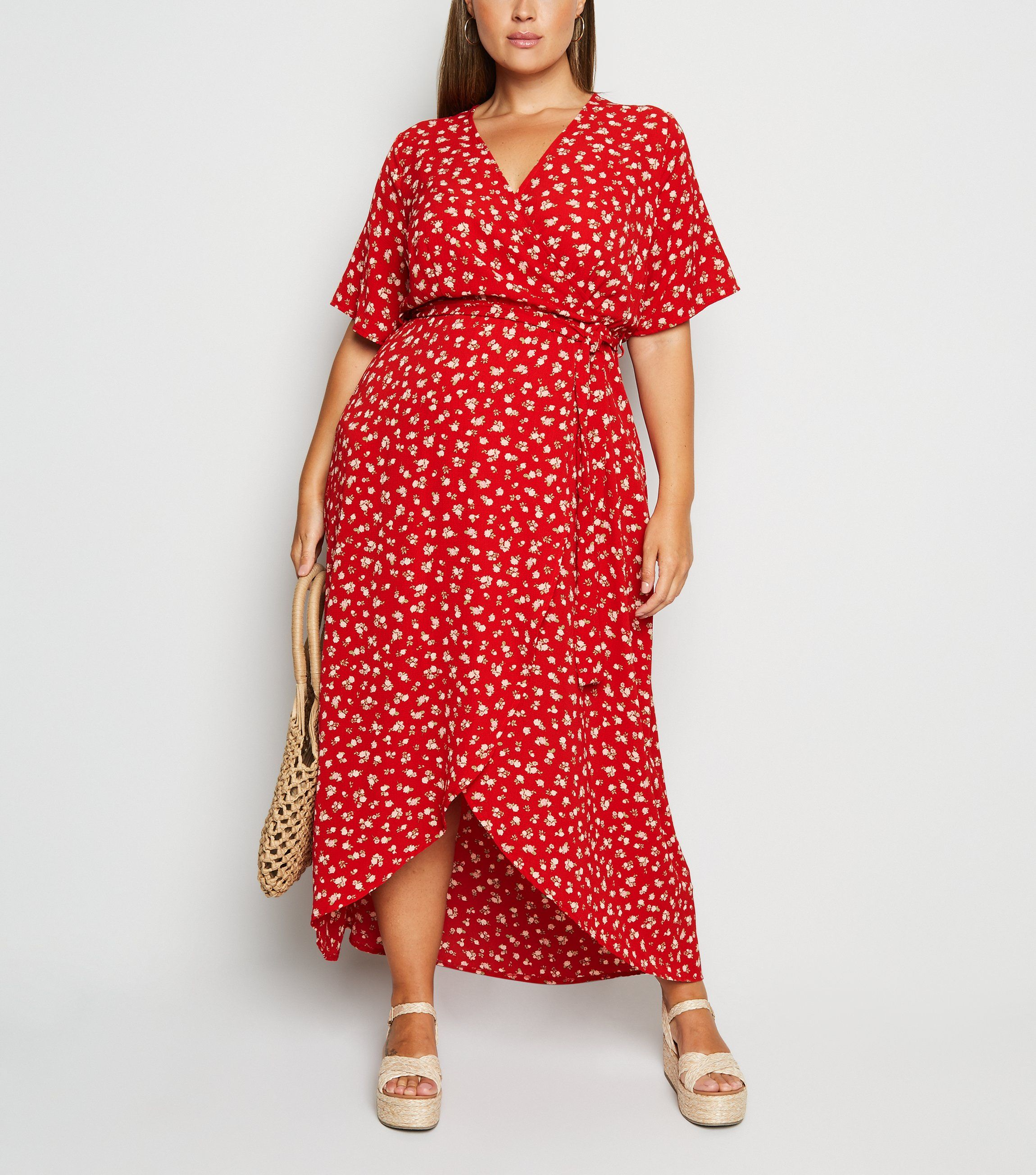 new look curves red floral dress