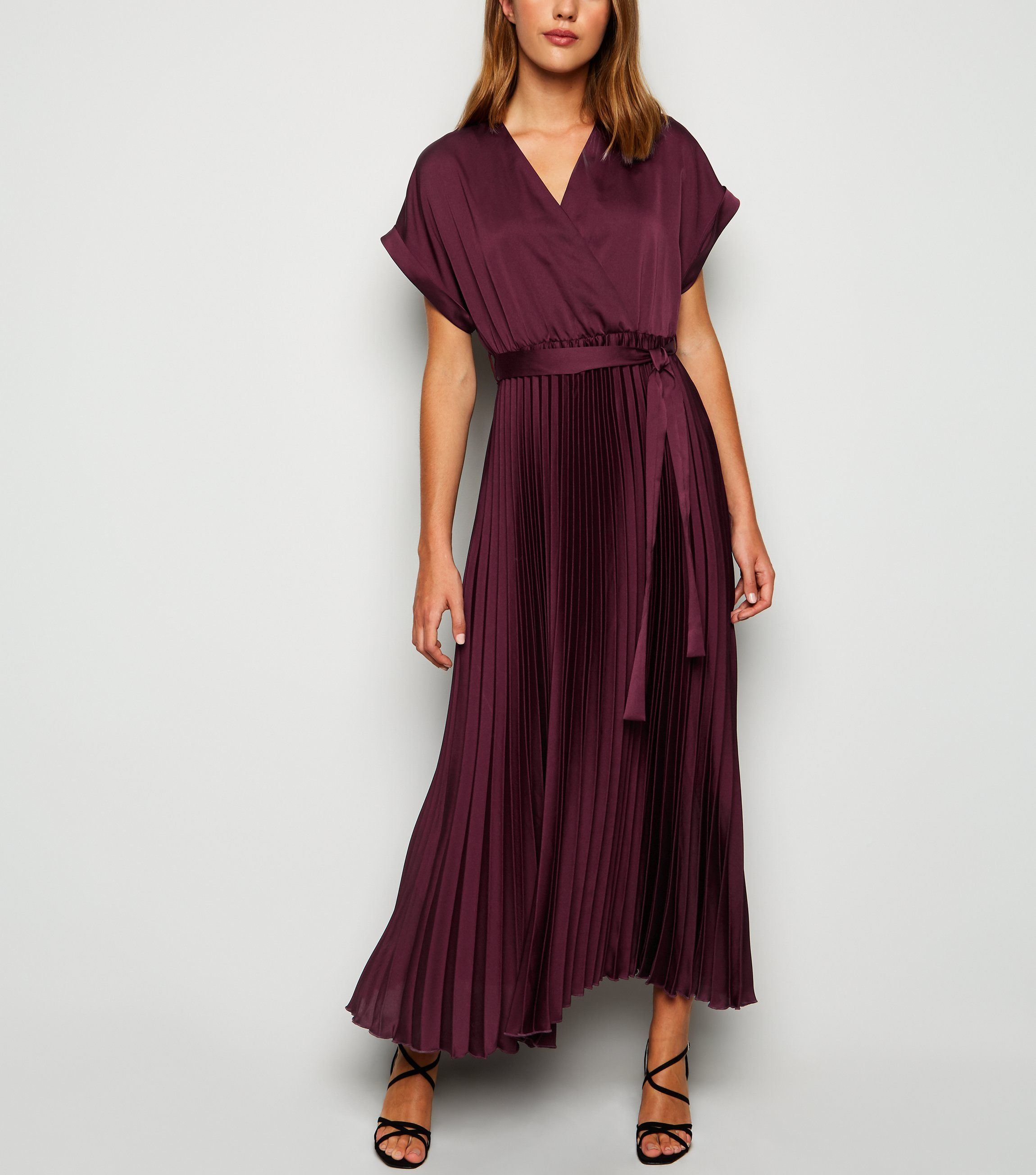new look plum-satin-pleated-midi-dress