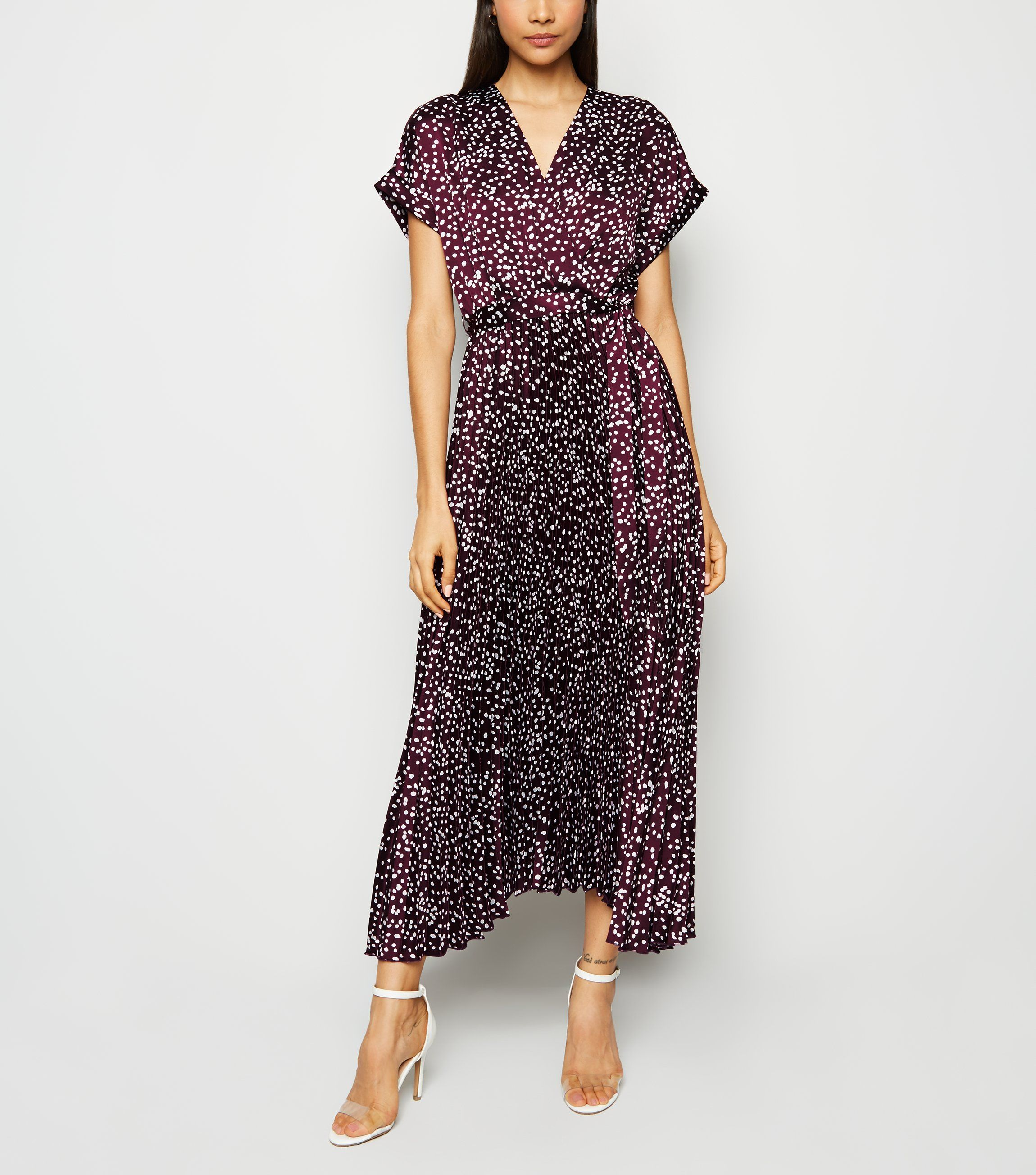 new look purple-satin-spot-pleated-midi-dress