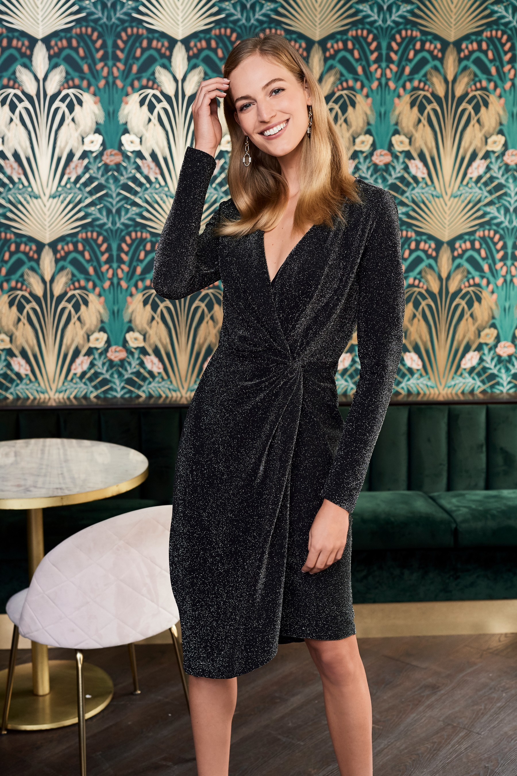 next Sparkle Jersey Wrap Dress