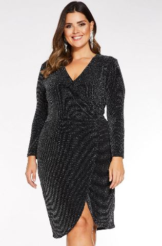 quiz silver black glitter dress