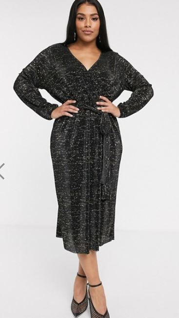 asos crve glitter midi plisse tea dress