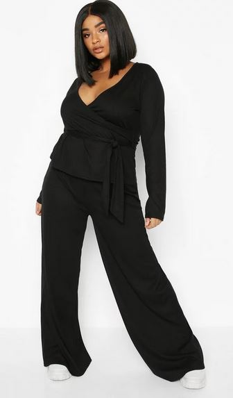 boohoo wrap tie top and trouser set