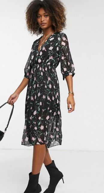 liqorish wrap dress floral