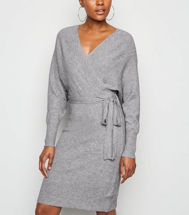 new look grey-ribbed-knit-batwing-wrap-dress