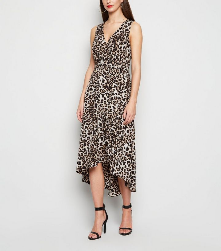 brown-leopard-print-dip-hem-midi-dress