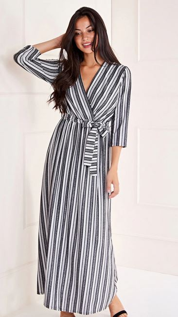 mela striped maxi dress