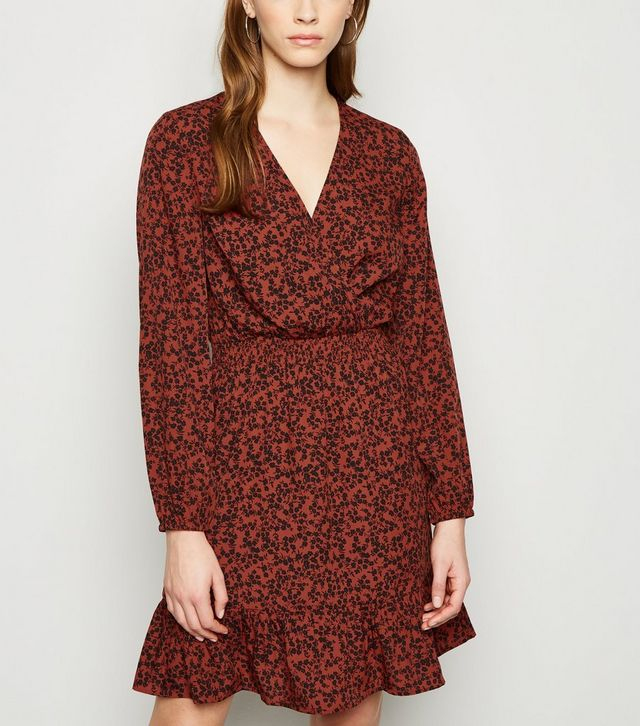 new look brown floral dress
